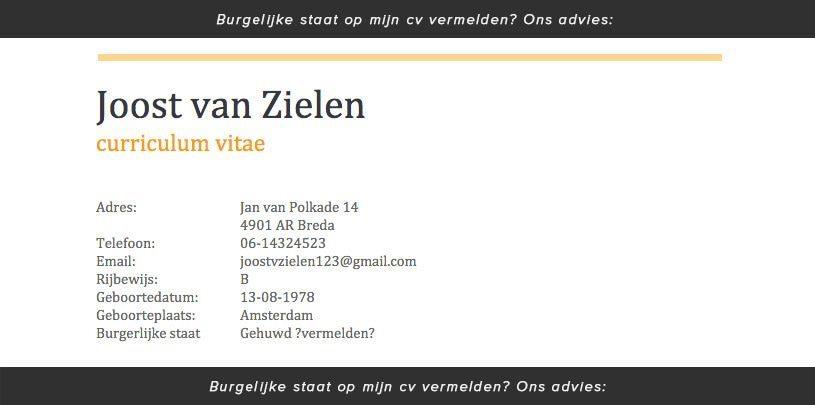 Burgerlijke staat: wel of niet op mijn CV vermelden? · CVSter.nl
