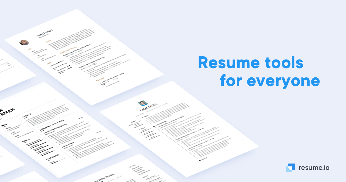 Resume Templates Try For Free Create A Perfect Resume Resume Io